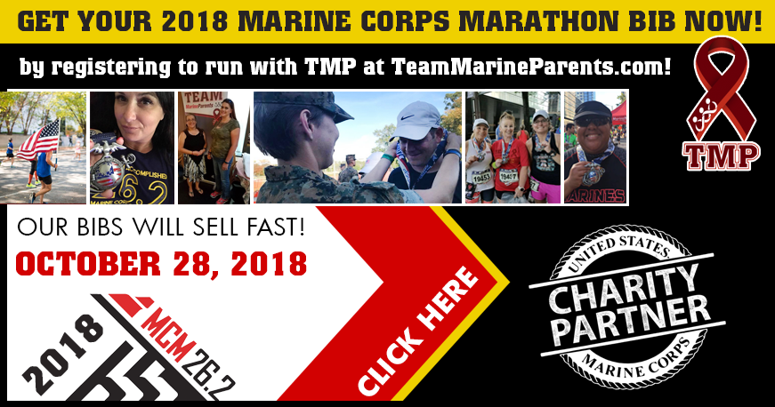 2018 Marine Corps Marathon Bibs with Team Marine Parents