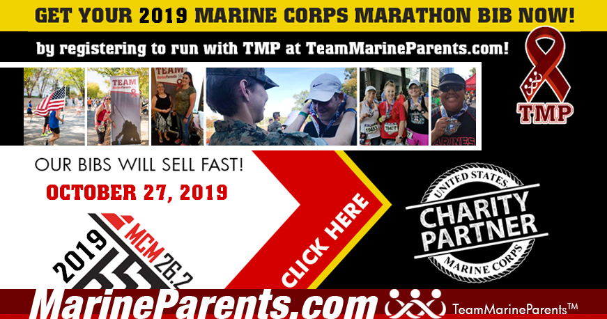 2019 Marine Corps Marathon Bibs with Team Marine Parents